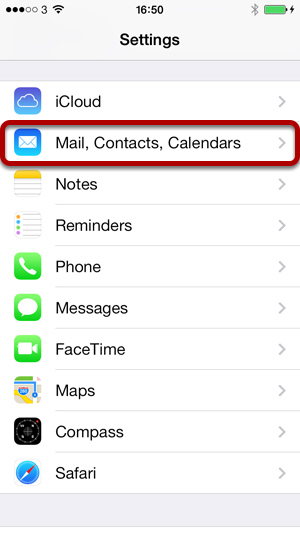 mail contacts calendars